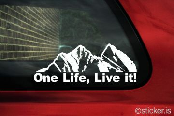 """ One Life, Live it ""  Mountain silhouette , offroad truck sticker"